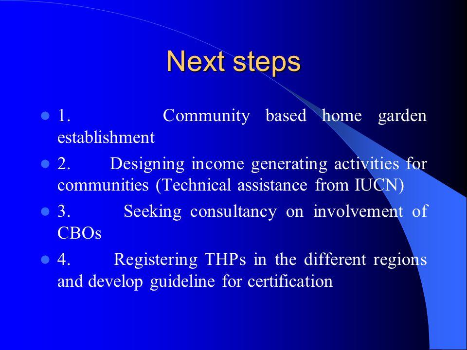 Next steps 1. Community based home garden establishment