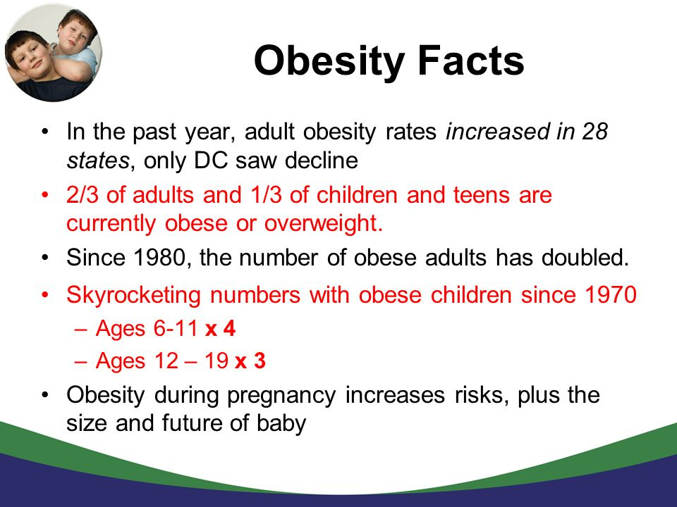 Obesity Facts In the past year, adult obesity rates increased in 28 states, only DC saw decline.