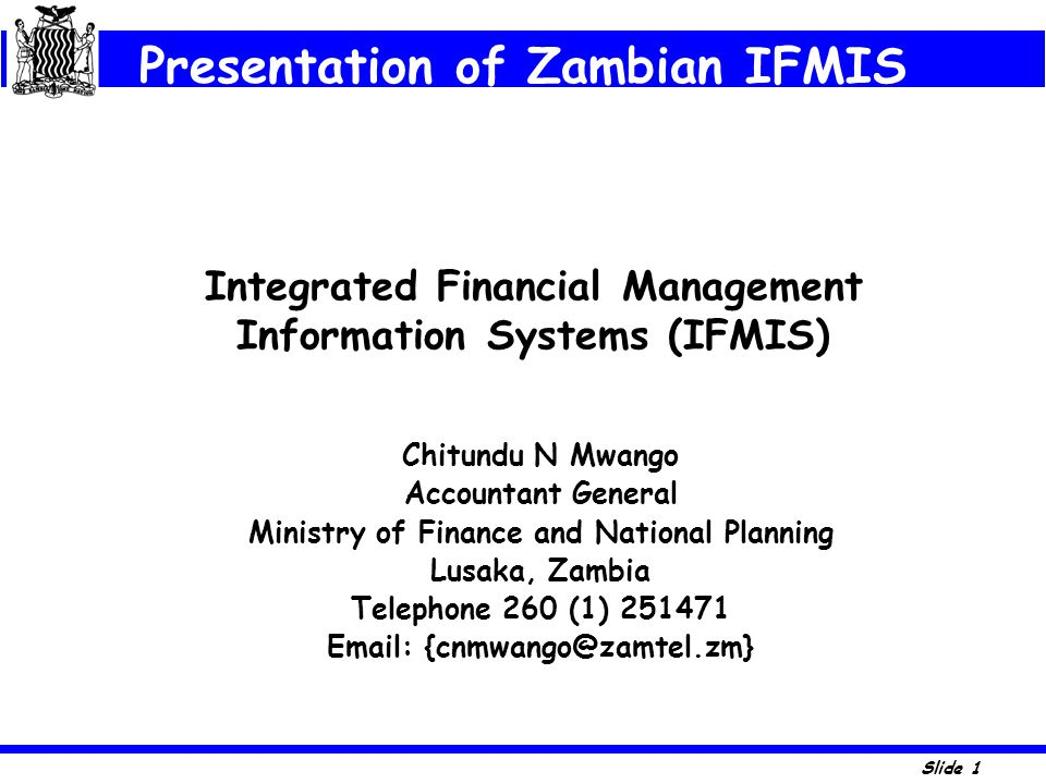 Integrated Financial Management Information Systems (IFMIS)