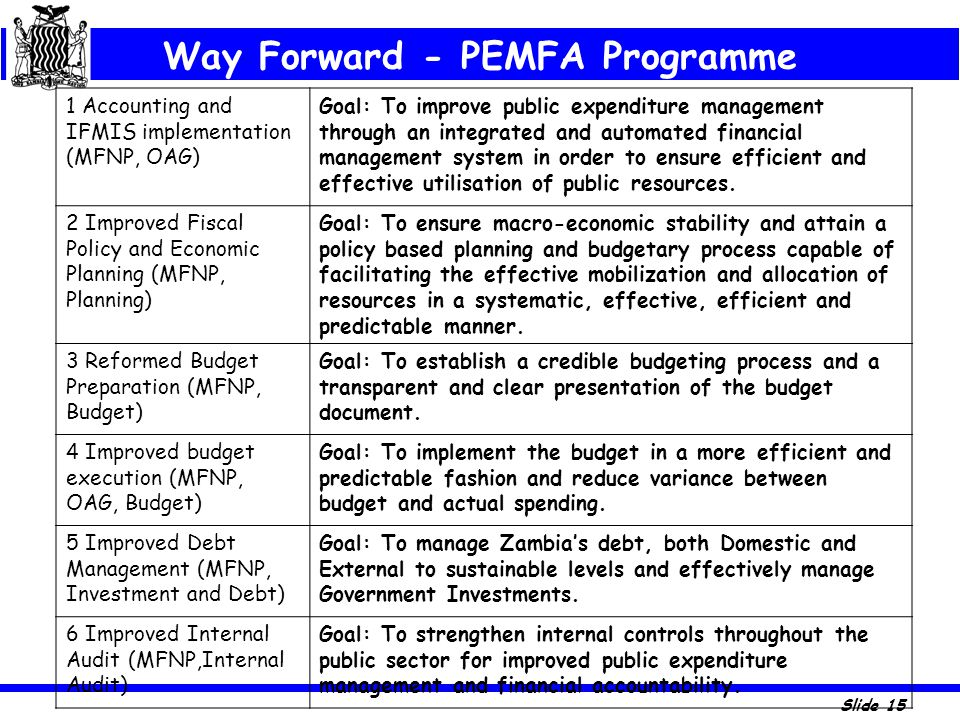 Way Forward - PEMFA Programme
