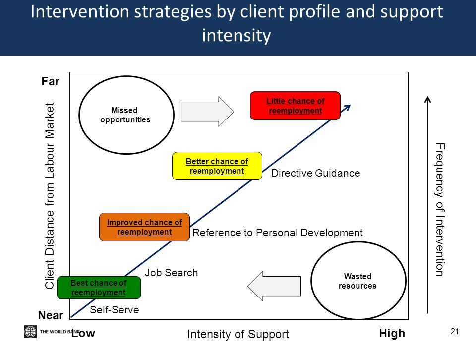 Intervention strategies by client profile and support intensity