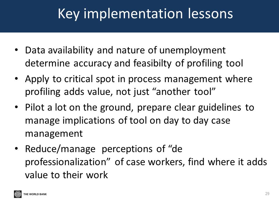 Key implementation lessons