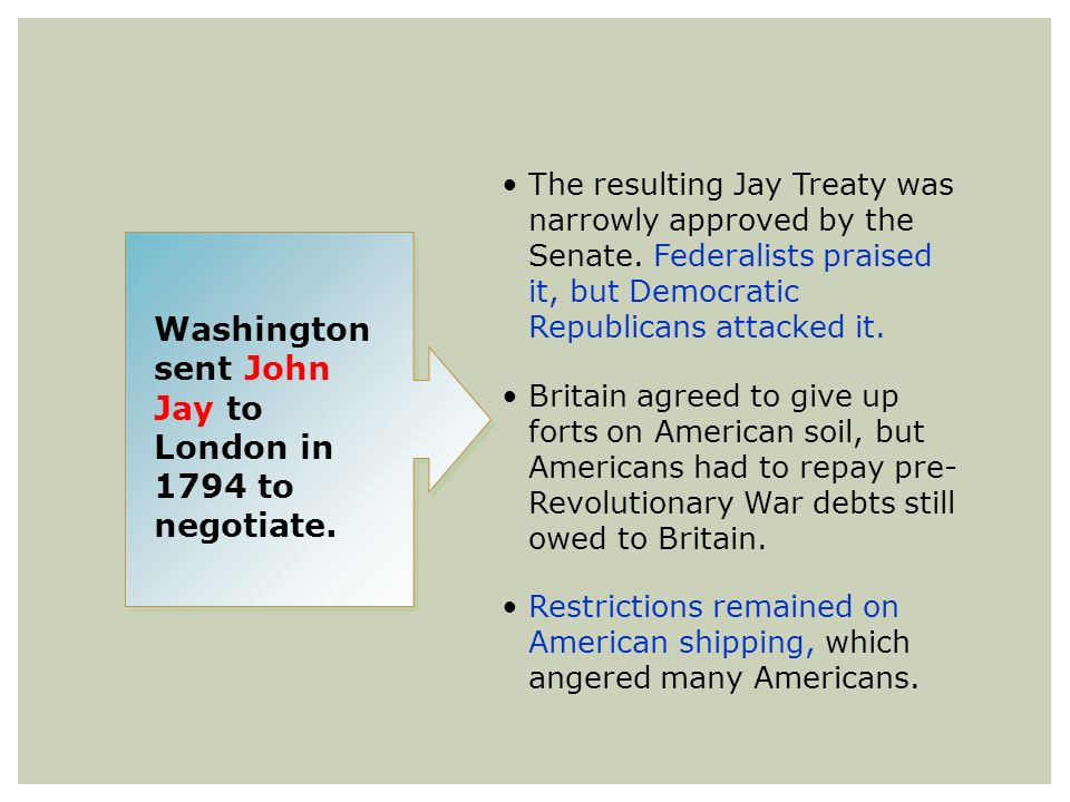 Washington sent John Jay to London in 1794 to negotiate.