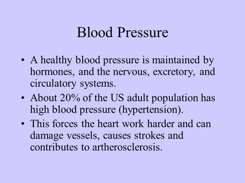 Blood PressureA healthy blood pressure is maintained by hormones, and the nervous, excretory, and circulatory systems.