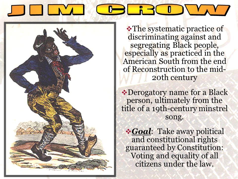 social reality JIM CROW.