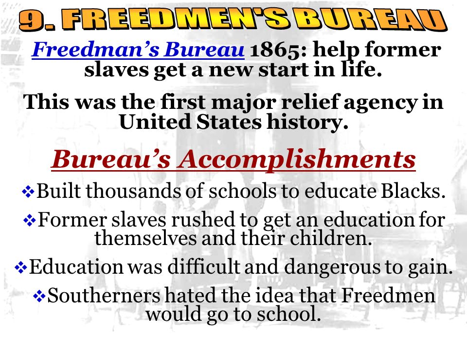 Bureau's Accomplishments
