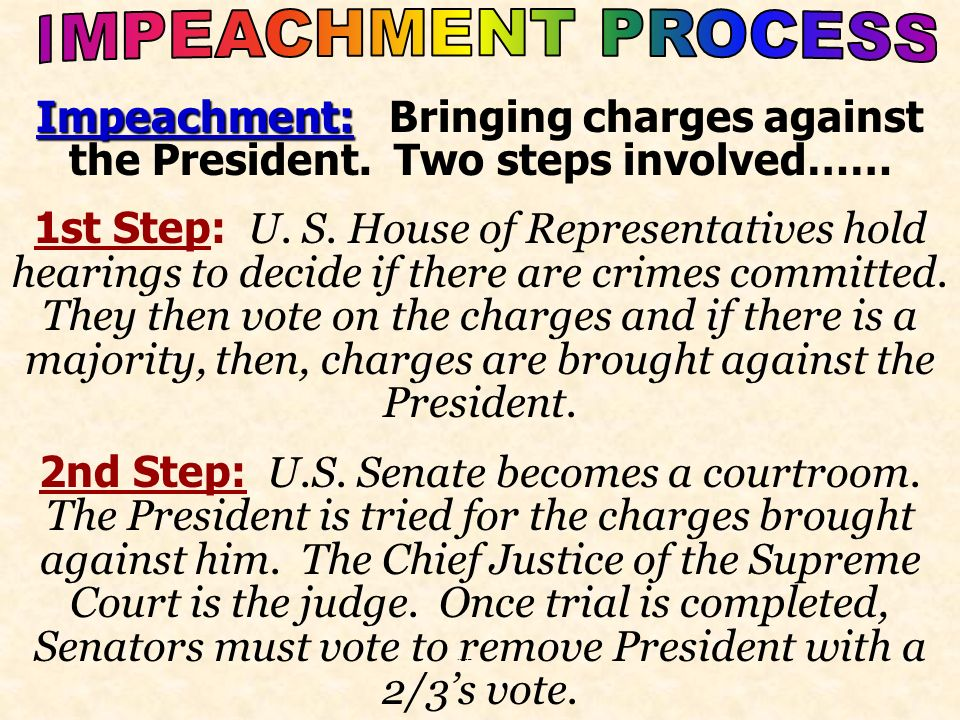 IMPEACHMENT PROCESS Impeachment: Bringing charges against the President. Two steps involved……