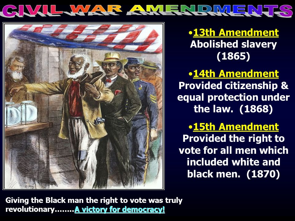 13th Amendment Abolished slavery (1865)