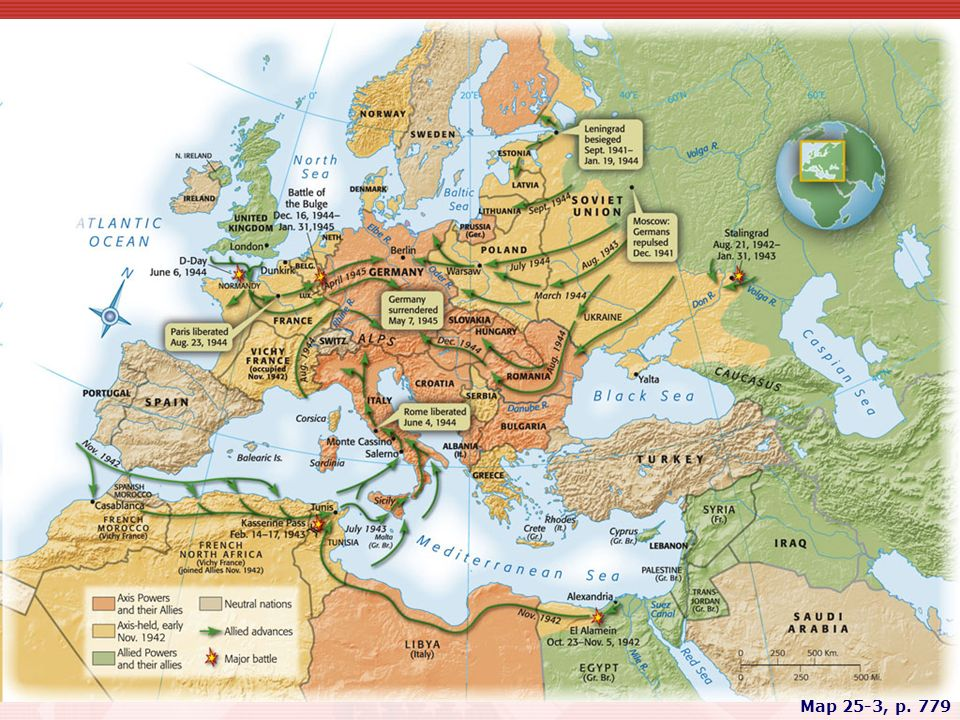 MAP 25.3 WORLD WAR II IN EUROPE AND AFRICA The momentous German defeats at Stalingrad and in Tunisia in early 1943 marked the turning point in the war against the Axis. By 1945, Allied conquest of Hitler's thousand-year Reich was imminent.