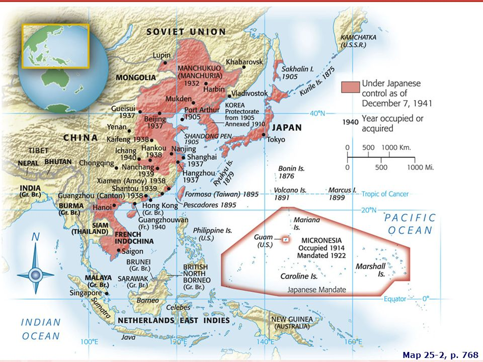 MAP 25.2 JAPANESE EXPANSION BEFORE WORLD WAR II Dominated by militarists, Japan pursued an expansionist policy in Asia in the 1930s, extending its sphere of economic and political influence. In July 1937, having already occupied the Chinese province of Manchuria, Japan attacked China proper.