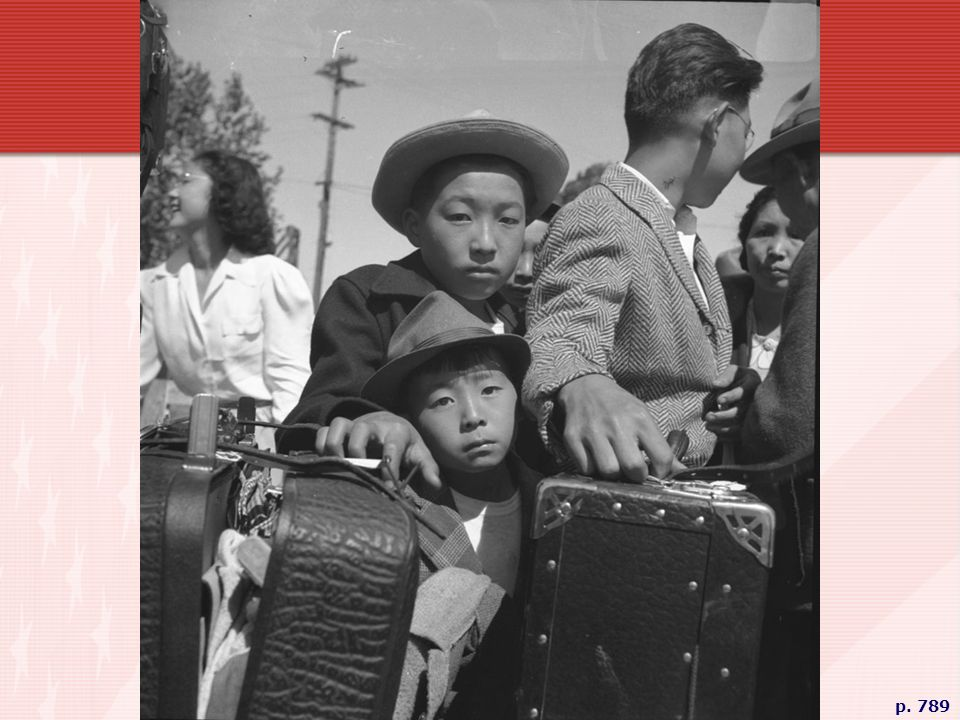 YOUNG NIESI EVACUEES AT THE TURLOCK ASSEMBLY CENTER Awaiting their turn for baggage inspection on May 2, 1942, these children would be interned in remote relocation centers along with 37,000 first-generation Japanese immigrants (Issei) and some 75,000 native-born Japanese-American (Niesi) citizens of the United States. Hastily uprooted from their homes, farms, and stores, most lost all their property and personal possessions, and spent the war under armed guard.