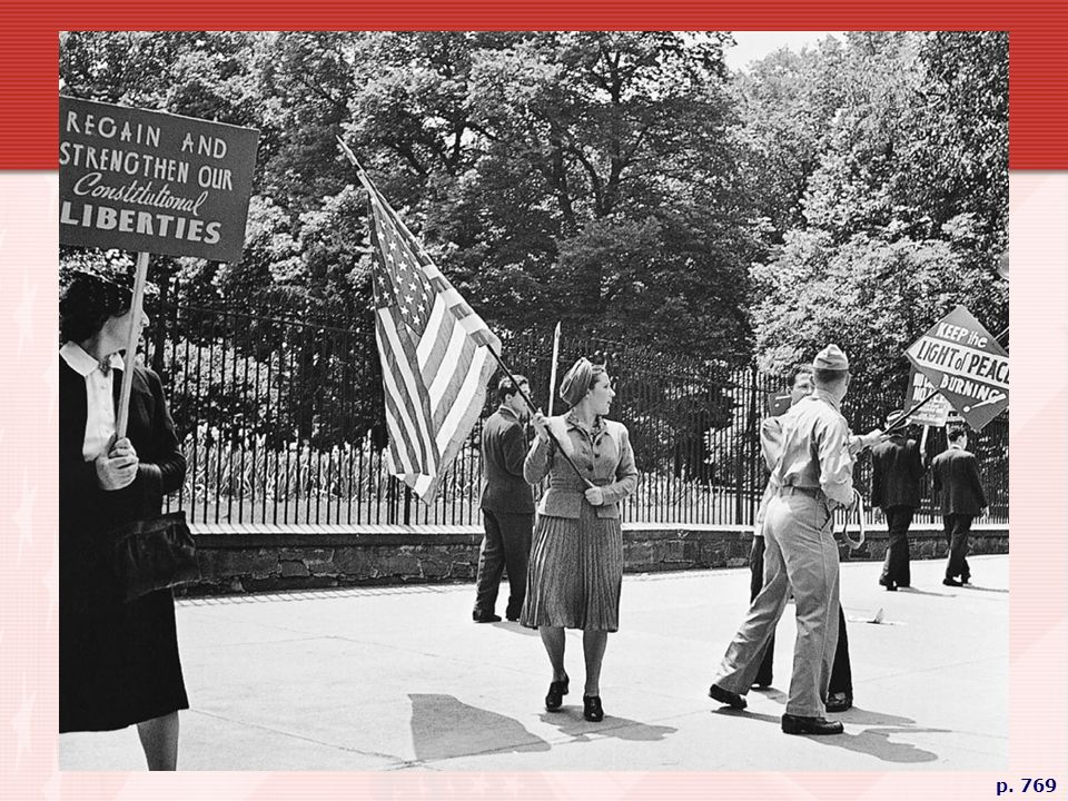 ISOLATIONISM VERSUS INTERVENTIONISM In front of the White House in 1941, an American soldier grabs a sign from an isolationist picketing against the United States entering the war in Europe. A diverse group, isolationists ran the gamut from pacifi sts who opposed all wars, to progressives who feared the growth of business and centralized power that a war would bring, to ultra-rightists who sympathized with fascism and/or shared Hitler's anti-Semitism.