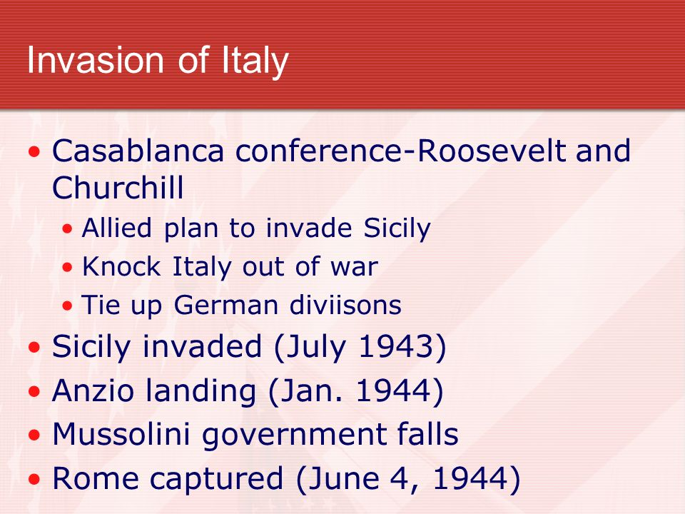 Invasion of Italy Casablanca conference-Roosevelt and Churchill