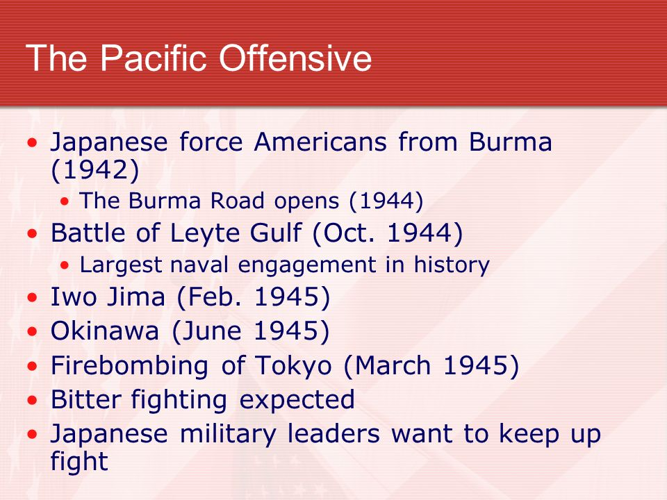 The Pacific Offensive Japanese force Americans from Burma (1942)