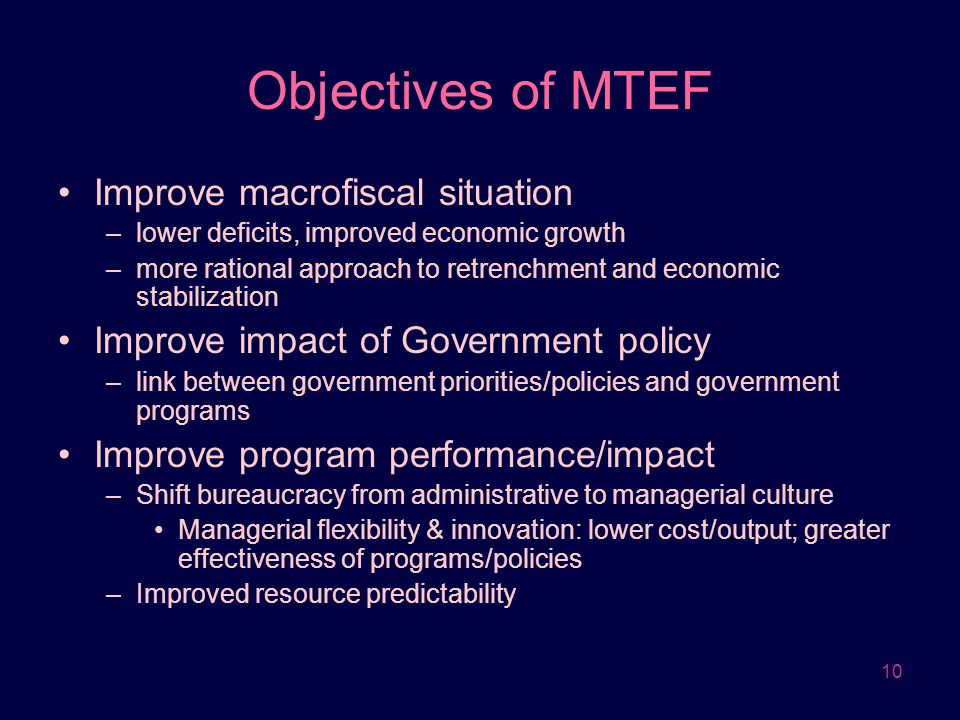 Objectives of MTEF Improve macrofiscal situation