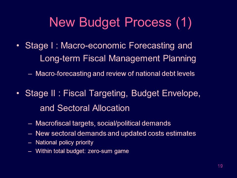 New Budget Process (1) Stage I : Macro-economic Forecasting and Long-term Fiscal Management Planning.