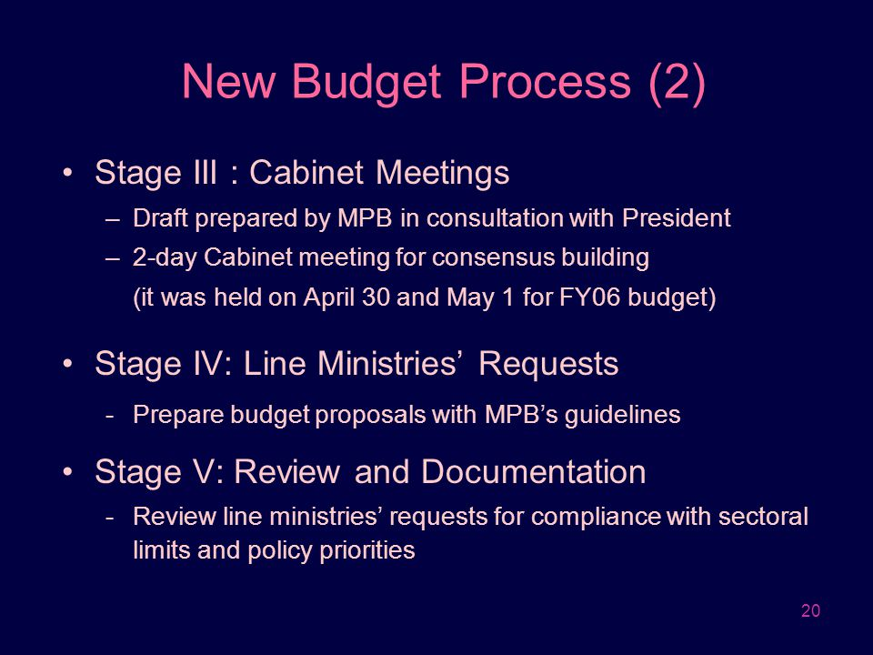 New Budget Process (2) Stage III : Cabinet Meetings