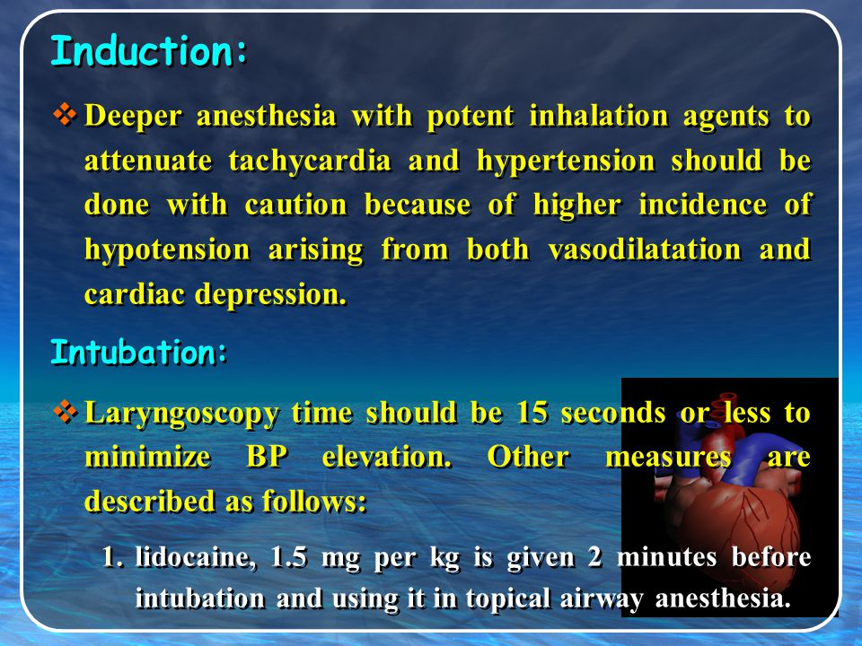 Induction: Intubation:
