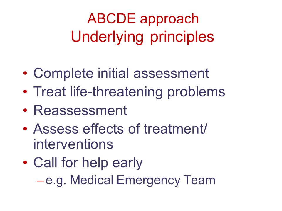 ABCDE approach Underlying principles