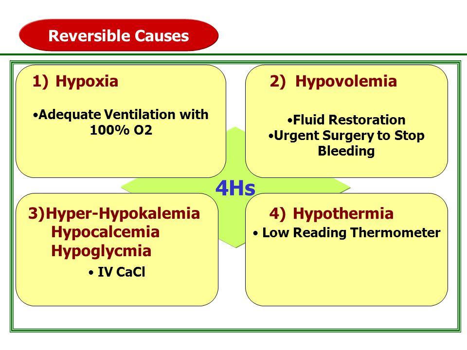 4Hs Reversible Causes Hypoxia 2) Hypovolemia Hyper-Hypokalemia