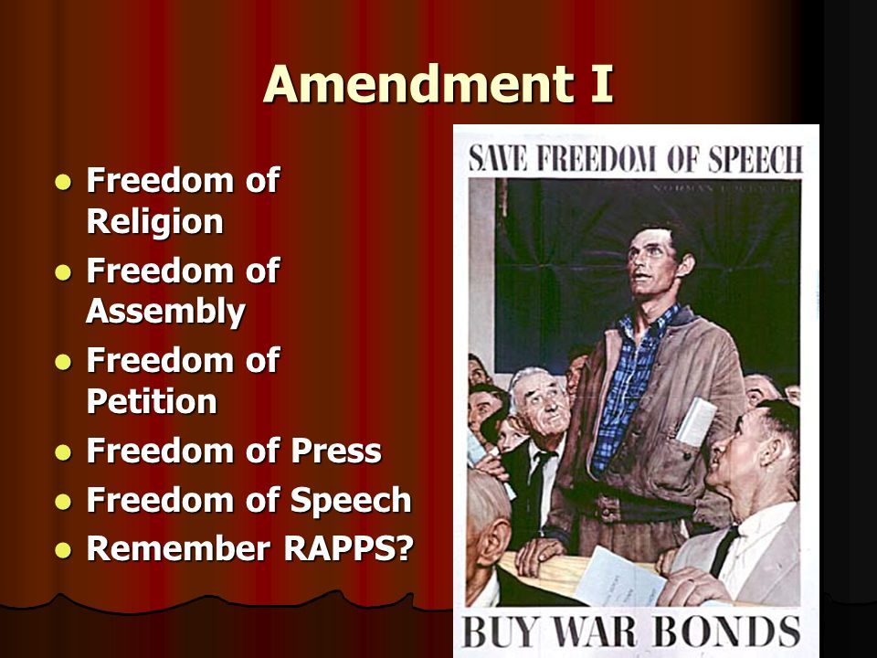 Amendment I Freedom of Religion Freedom of Assembly
