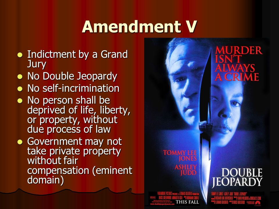 Amendment V Indictment by a Grand Jury No Double Jeopardy