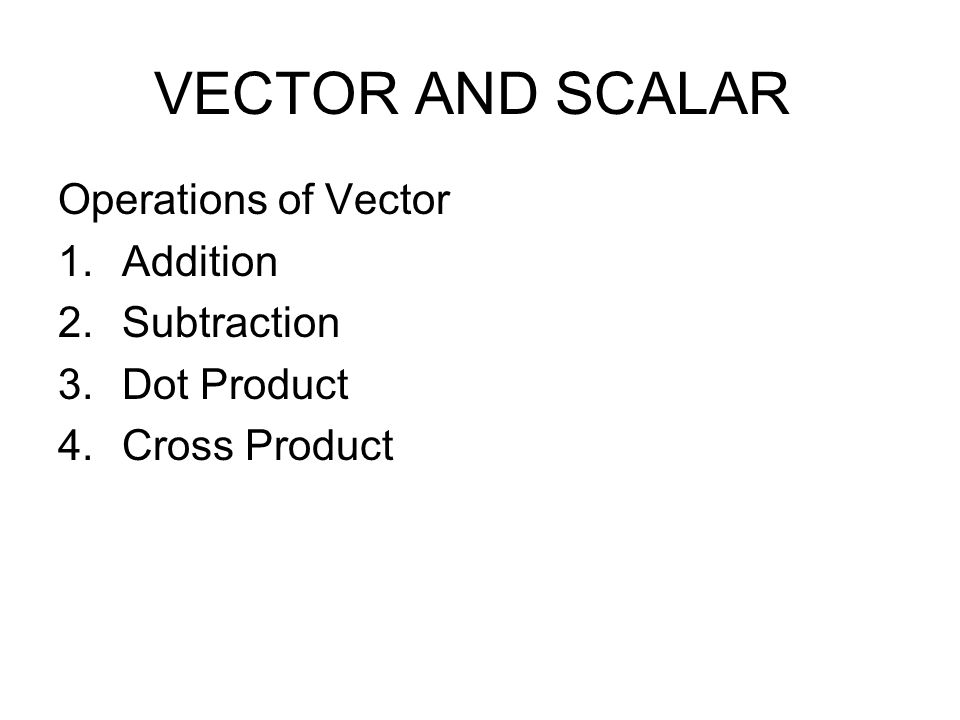Operations of Vector Addition Subtraction Dot Product Cross Product