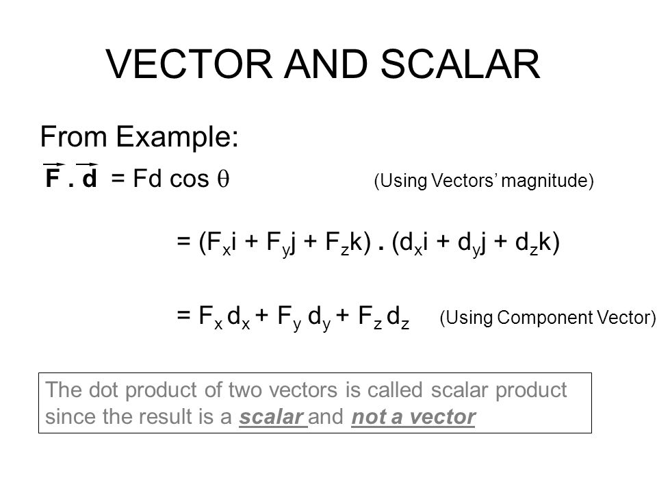 VECTOR AND SCALAR From Example: