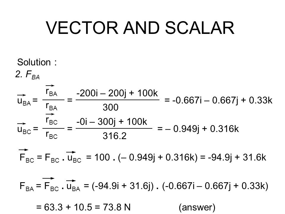 VECTOR AND SCALAR Solution : FBA rBA uBA = -200i – 200j + 100k 300 =