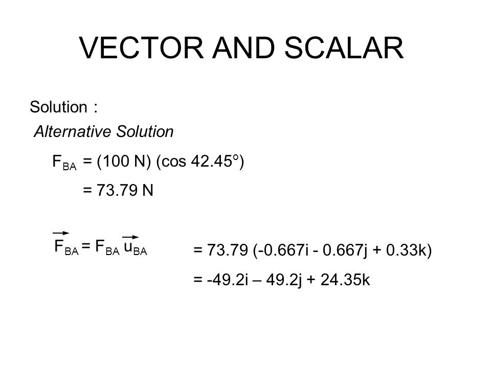 VECTOR AND SCALAR Solution : Alternative Solution