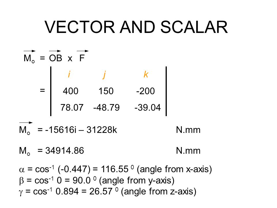 VECTOR AND SCALAR Mo = OB x F i j k 400 150 -200 78.07 -48.79 -39.04 =