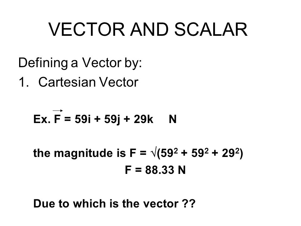 VECTOR AND SCALAR Defining a Vector by: Cartesian Vector