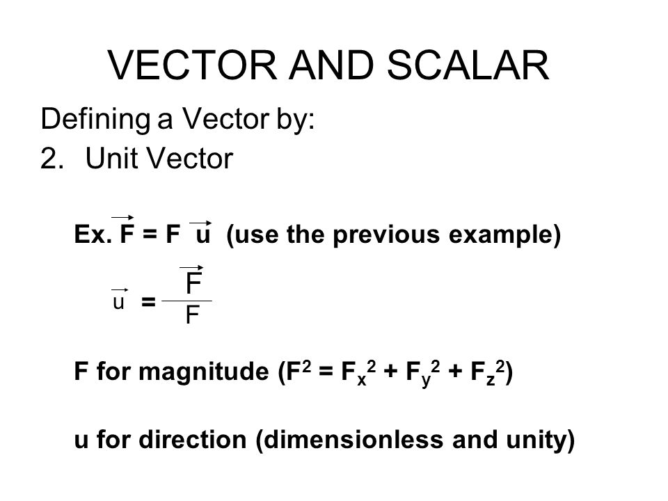 VECTOR AND SCALAR Defining a Vector by: Unit Vector F