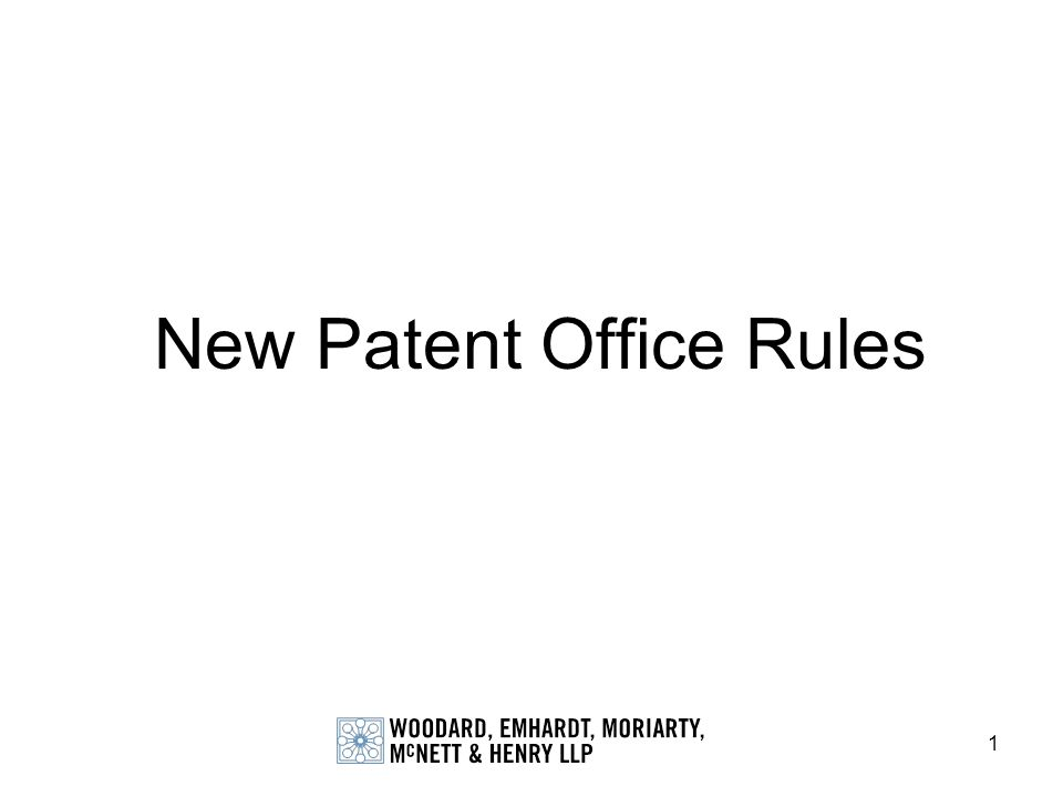 New Patent Office Rules