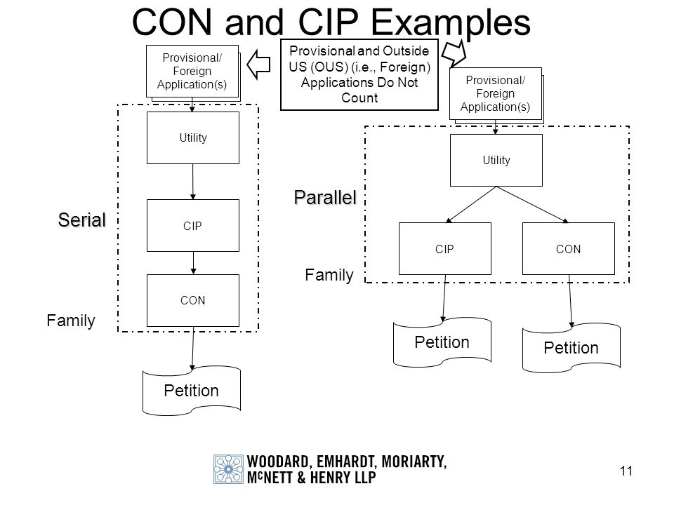CON and CIP Examples Parallel Serial Family Family Petition Petition