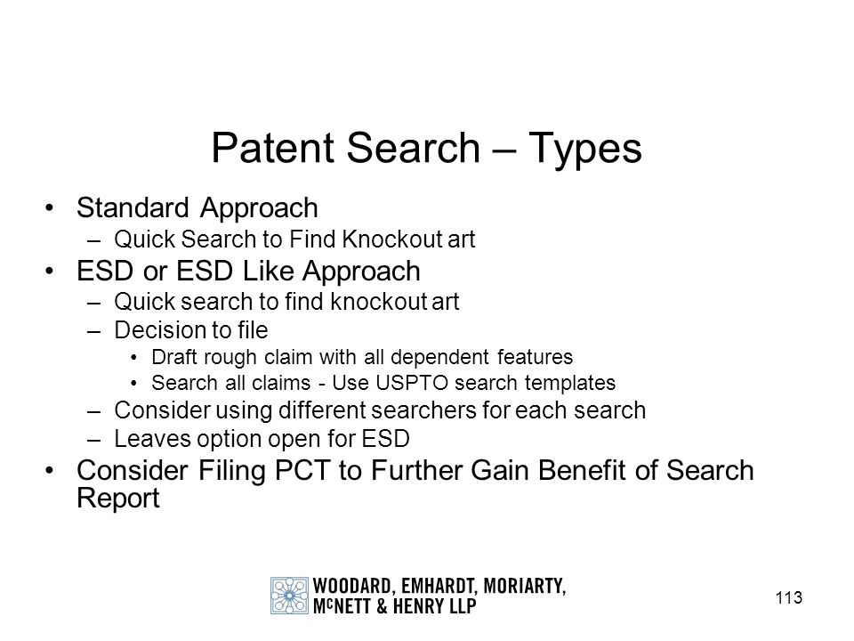 Patent Search – Types Standard Approach ESD or ESD Like Approach