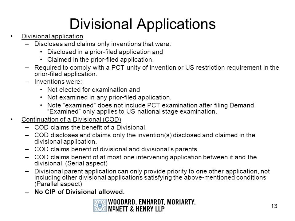 Divisional Applications
