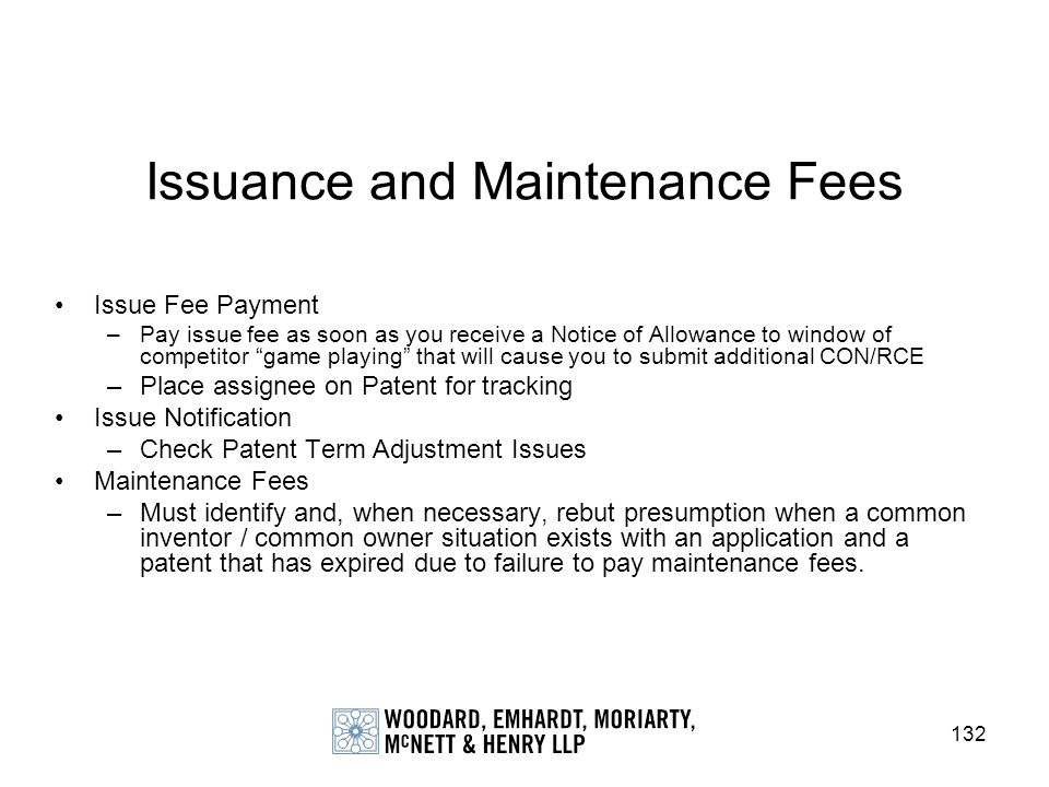 Issuance and Maintenance Fees