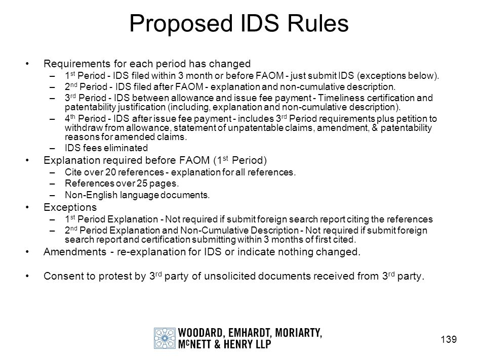 Proposed IDS Rules Requirements for each period has changed