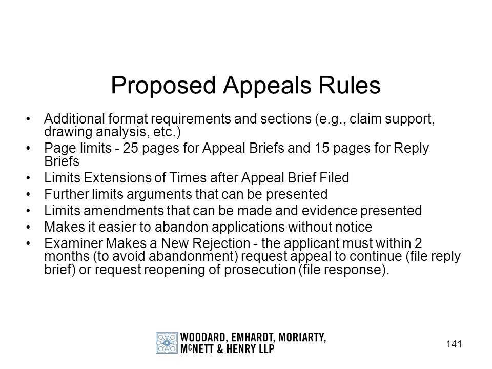 Proposed Appeals Rules