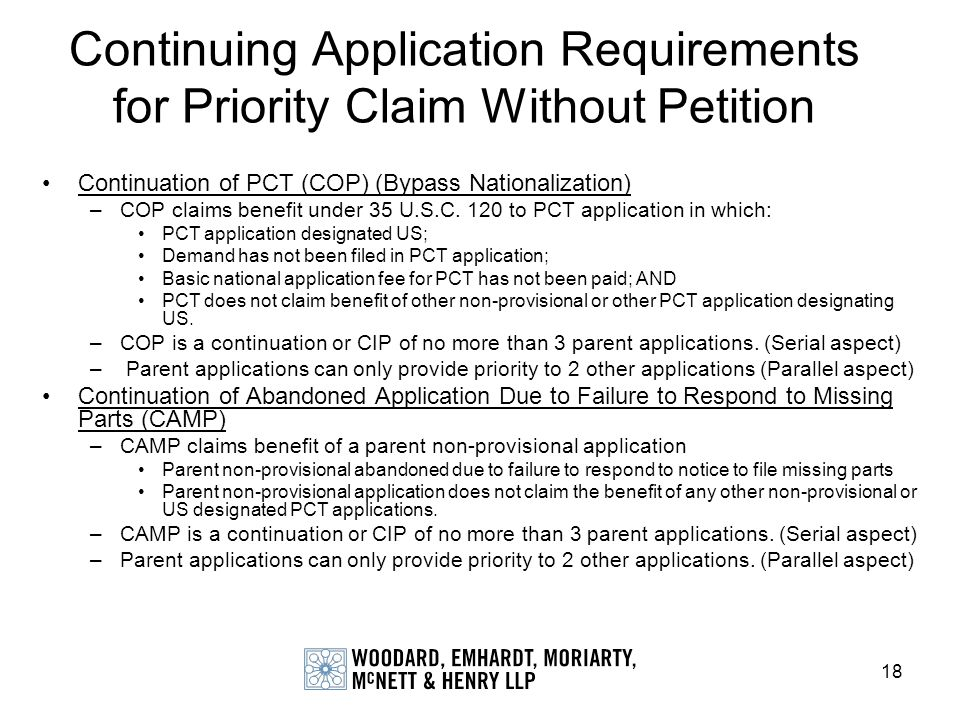 Continuing Application Requirements for Priority Claim Without Petition