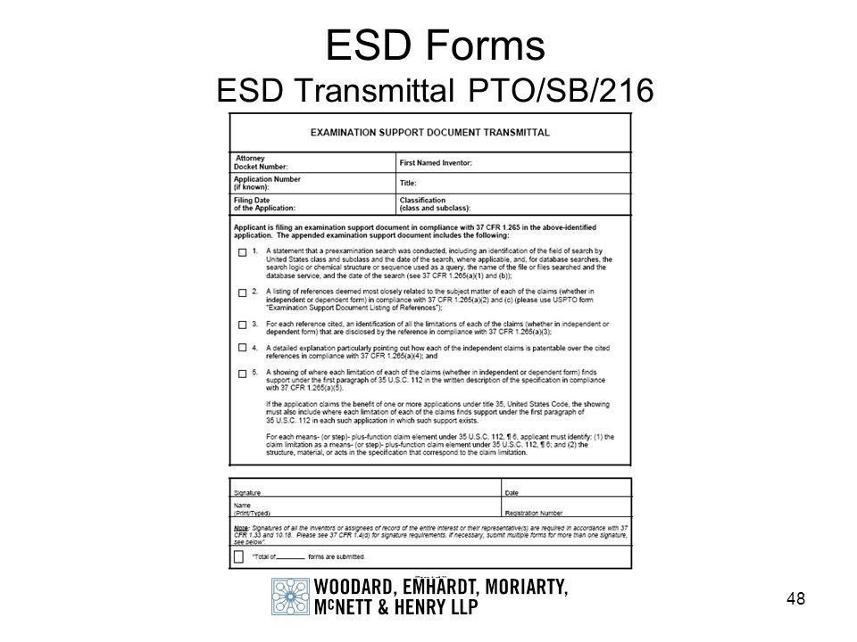 ESD Forms ESD Transmittal PTO/SB/216