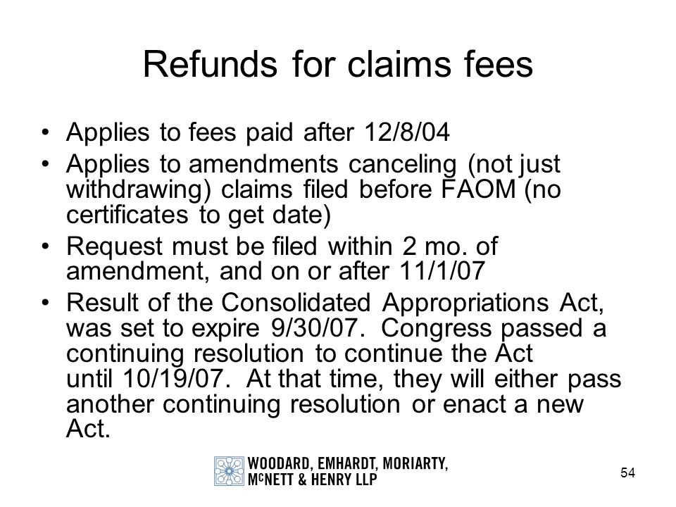 Refunds for claims fees