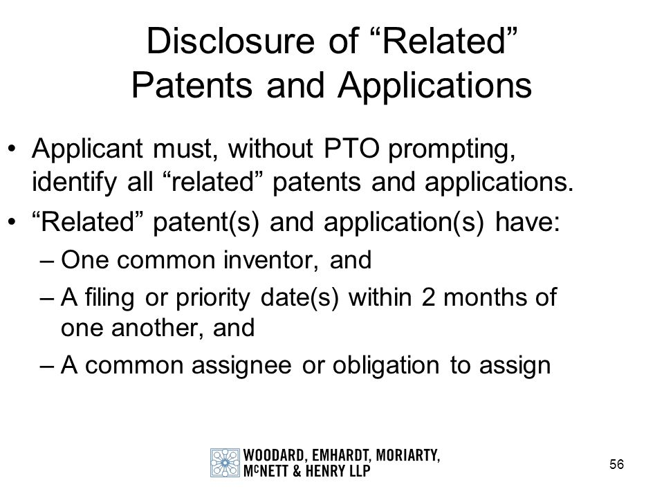 Disclosure of Related Patents and Applications