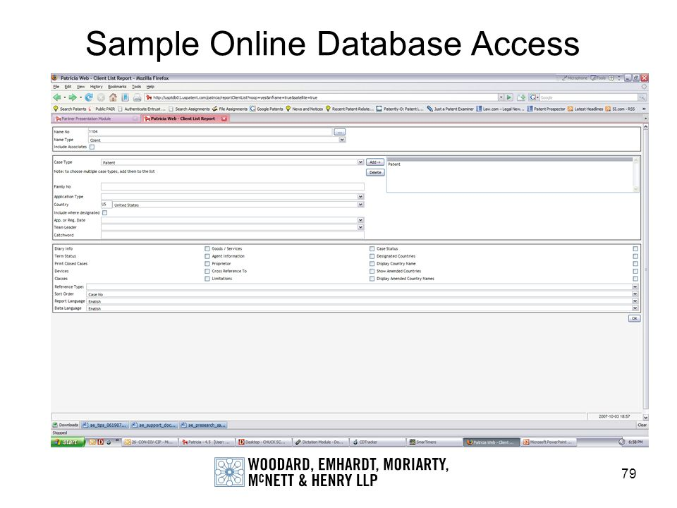 Sample Online Database Access