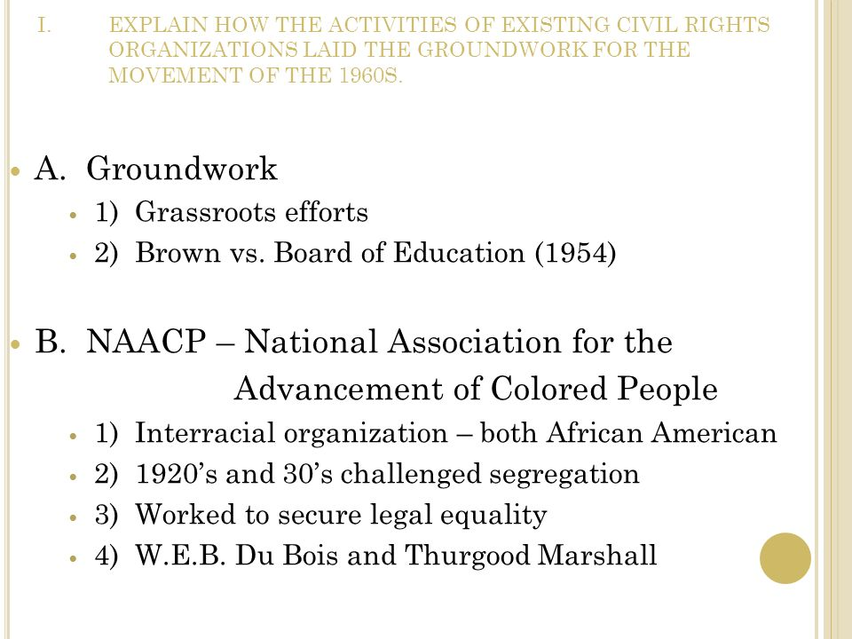 B. NAACP – National Association for the Advancement of Colored People