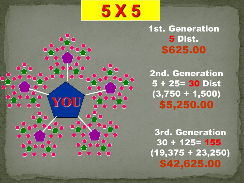 5 X 5 YOU $625.00 $5,250.00 $42,625.00 1st. Generation 5 Dist.