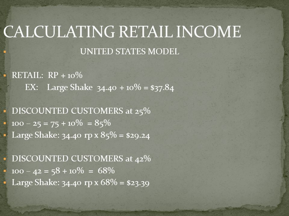 CALCULATING RETAIL INCOME