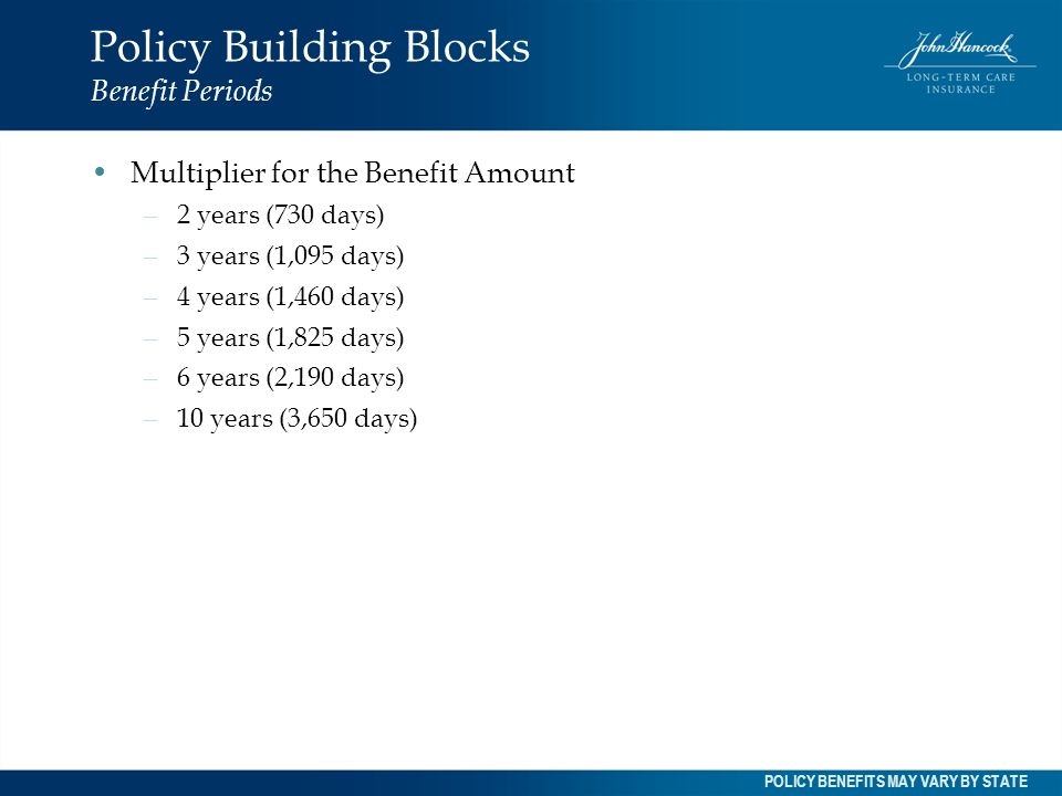 Policy Building Blocks Benefit Periods