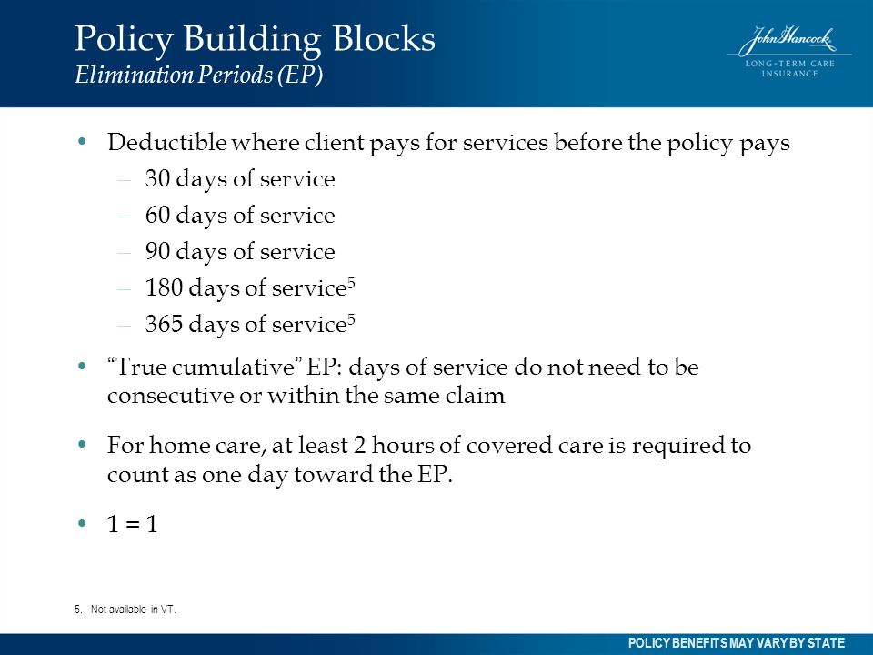 Policy Building Blocks Elimination Periods (EP)